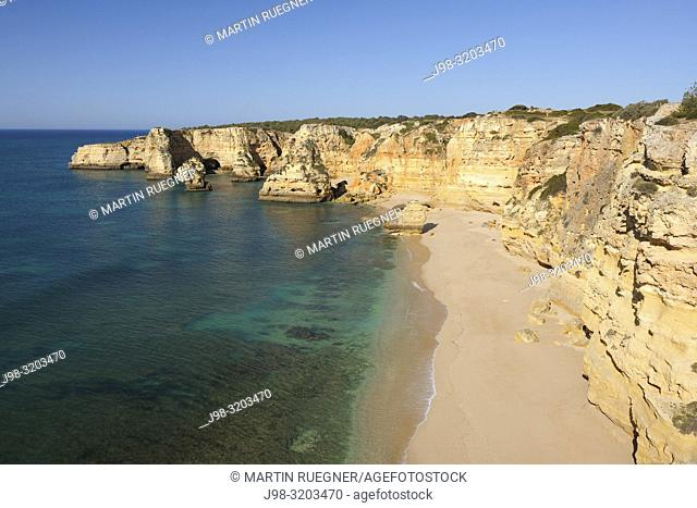 Praia da Marinha (Marinha Beach). Beach with spectacular rocks. Benagil, Lagoa, Faro, Portimao, Algarve, Portugal, Atlantic Ocean