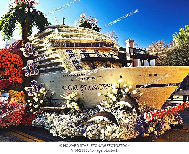 Portion of a 2015 Rose Parade float presented by Princess Cruise Lines