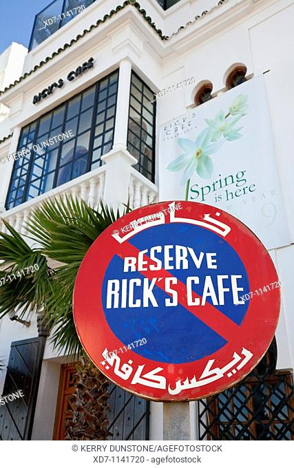 Morocco Casablanca (Dar el Beida) Rick's Cafe with Parking reservation sign