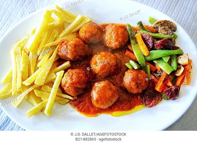 'Albondigas' (meat balls) in tomato sauce, Competa. Malaga province, Andalusia, Spain