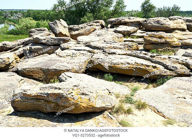 Ancient stone complex Stone Grave in Ukraine Zaporozhye region, summer day