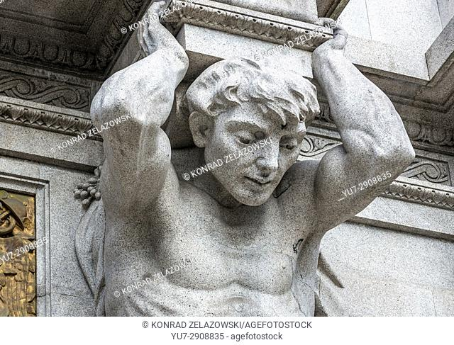 Close up on sculpture of Atlas on the front facade of City Hall of Porto city on Iberian Peninsula, Portugal