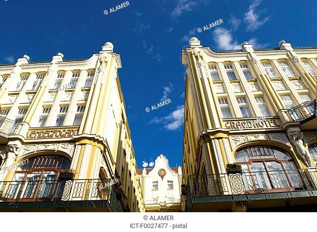 Hungary, Pécs, hotel facade