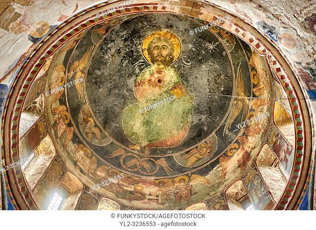 Pictures & images of the Byzantine cupola fresco in the Gelati Georgian Orthodox Church of the Virgin, 1106, depicting Christ Pantocrator
