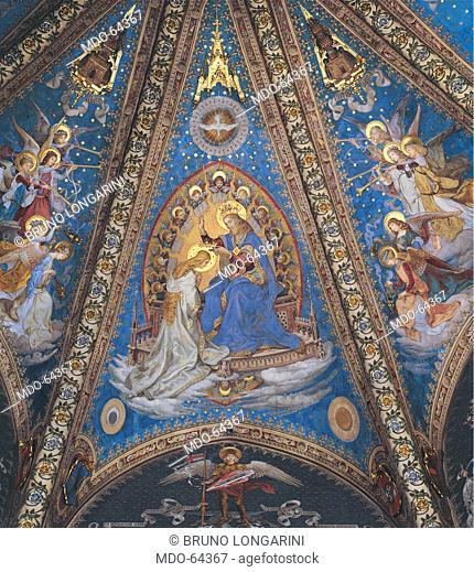 The Coronation of the Virgin Mary, by Seitz Ludovico, 1890, 19th Century, fresco. Italy; Marche; Ancona; Loreto; Santa Casa Basilica Sanctuary;