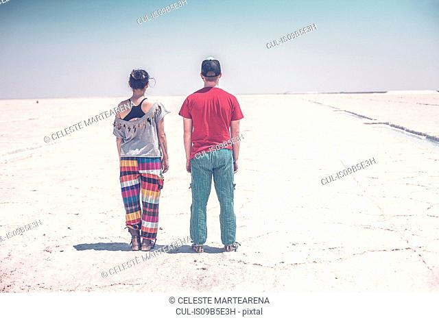 Couple standing on salt flats, looking at view, rear view, Jujuy, Salinas Grandes, Argentina