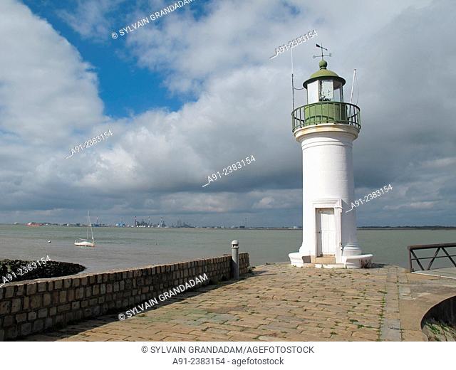 France, Loire, biking along the river in summer from Tours, River Loire estuary by city of Saint-Nazaire, light house