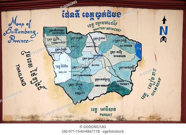 Map of Battambang province. Cambodia