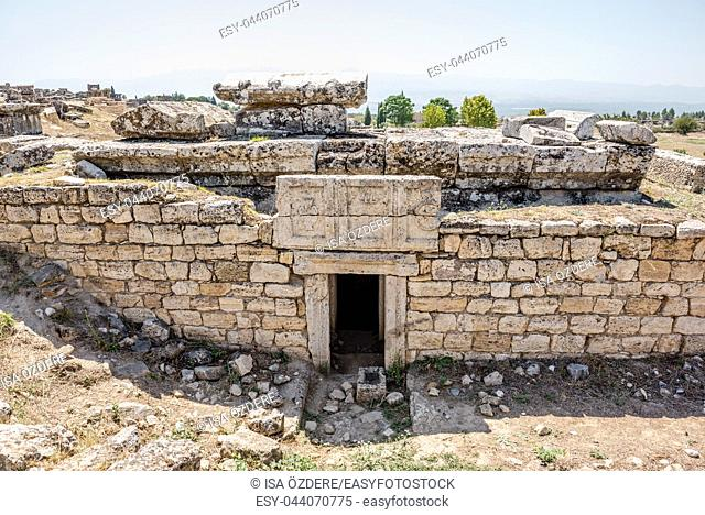 Ancient tombs of Gladiators at Hierapolis in Pamukkale, Turkey. UNESCO World Heritage