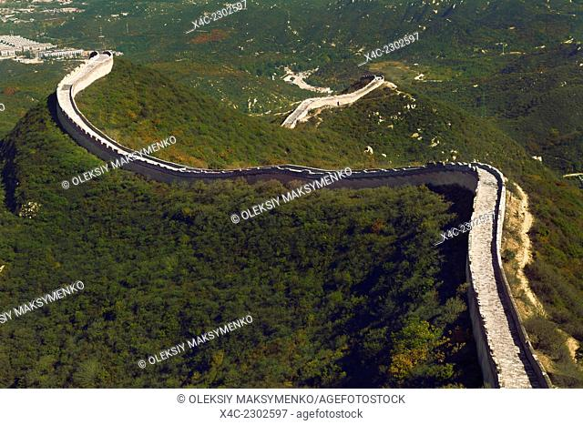 Section of the Great Wall aerial scenery in Badaling, Beijing, China