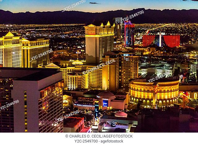 Las Vegas, Nevada. View of Caesar's Palace and West Las Vegas from the High Roller, early evening