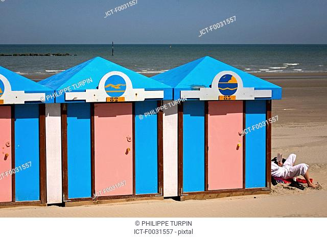 France, Nord, Opal Coast, cabins of Malo-les-bains