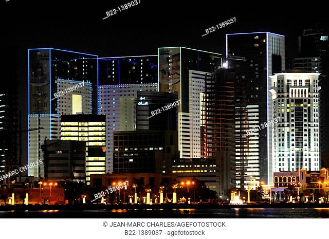 Modern towers, Doha, capital of the Emirate of Qatar, Arabian Peninsula, Persian Gulf, Middle East