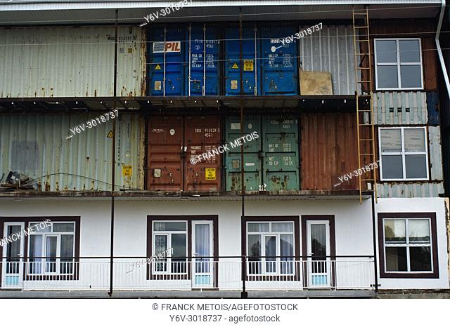 Building made from containers ( Kyrgyzstan). The building is a hotel under construction