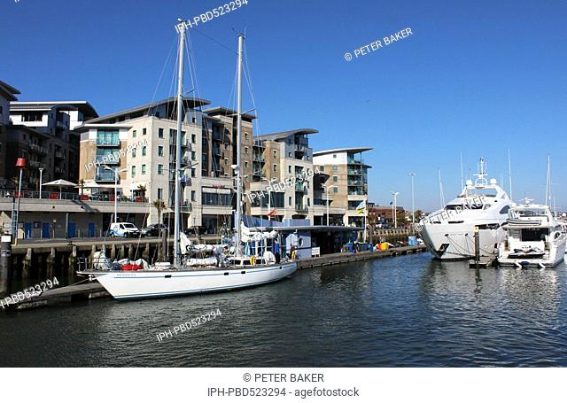 England Dorset Poole Luxury yachts on Poole Quay Peter Baker