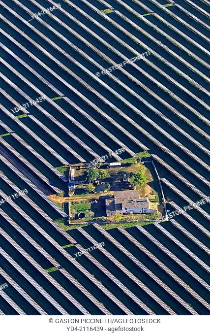 Aerial view of solar farm, Mallorca, Balearic Island, Spain