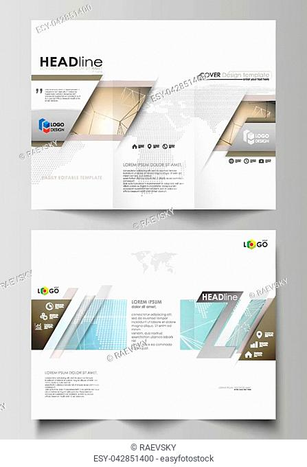 The minimalistic abstract vector illustration of the editable layout of two creative tri-fold brochure covers design business templates