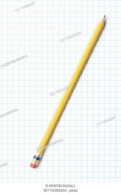 Single yellow sharpened pencil on graph paper