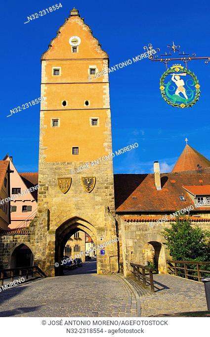 Dinkelsbuhl, Woernitz Gate, Romantic Road, Romantische Strasse, Dinkelsbühl, Middle Franconia, Bavaria, Germany