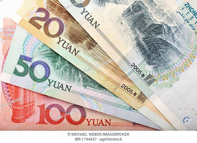 Fan of Chinese yuan, renminbi, the currency of the People's Republic of China, also known in the West as Yuán Kuai banknotes
