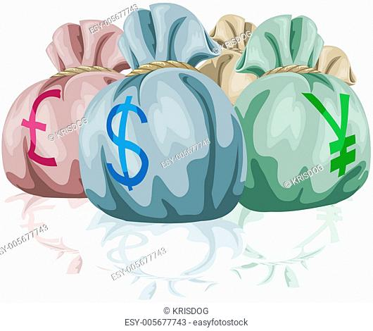 Money bag sacks containing currencies