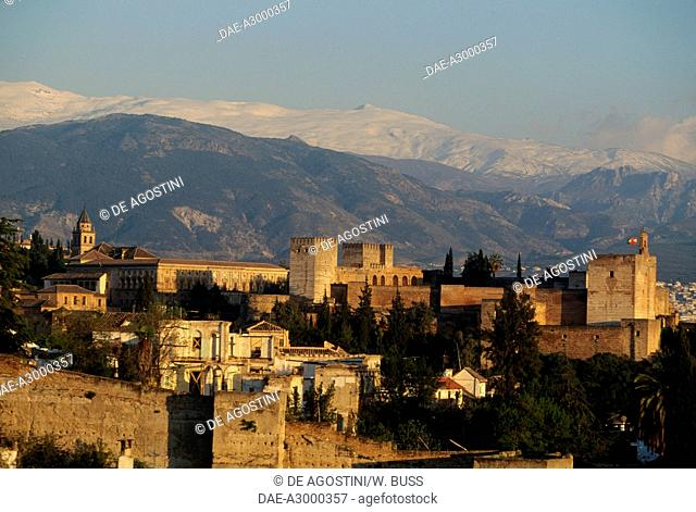 View of the Alhambra (UNESCO World Heritage List, 1984), with the Sierra Nevada in the background, Granada, Andalusia, Spain