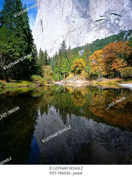 A mountain reflected in a lake, Yosemite National Park, Sierra Nevada, California, USA