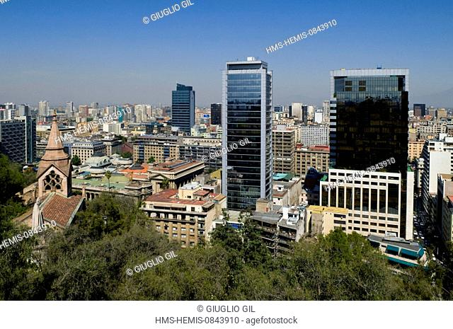 Chile, Metropolitan Region of Santiago, capital city of Santiago, dowtown, view from up side park of Cerro Santa Lucia