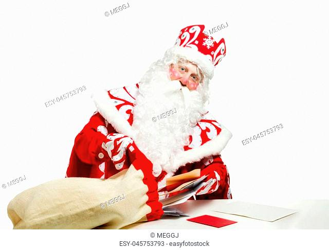 Santa Claus isolated on white background. Christmas holiday party