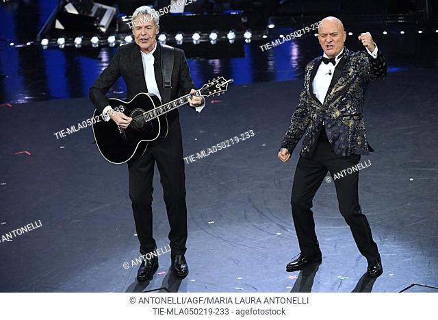 Claudio Baglioni and Claudio Bisio during Sanremo early evening. 69th Festival of the Italian Song. Sanremo, Italy 05 Febr 2019