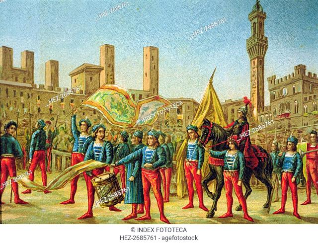 View of the Piazza del Campo in Siena during the Palio celebration where the representatives of t?