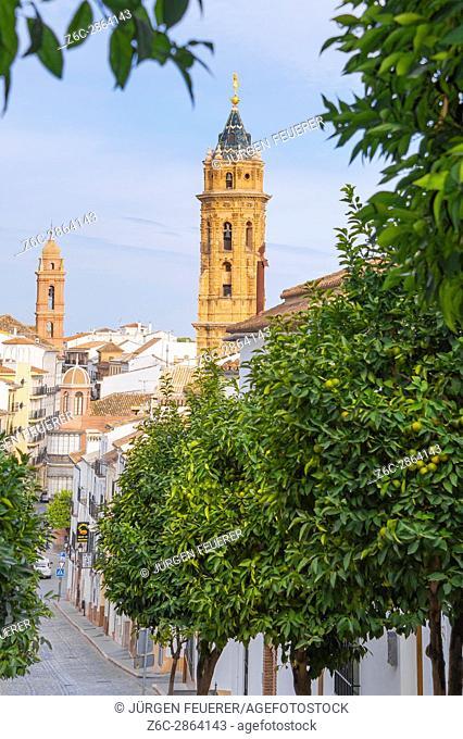 Antequera, its old town and towers of San Agustín and San Sebastián churches, province of Málaga, Andalusia, Spain