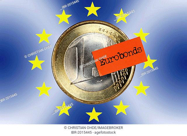 One euro coin with a price tag and Eurobonds logo