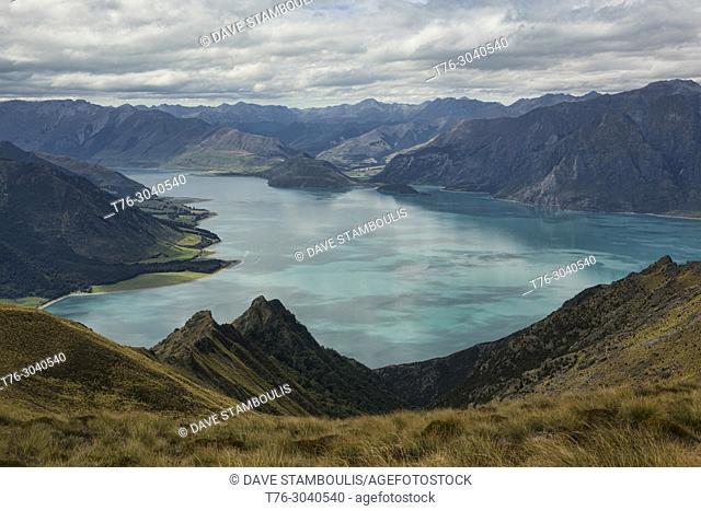 Azure Lake Hawea seen from the Isthmus Peak Track near Wanaka, Otago, New Zealand