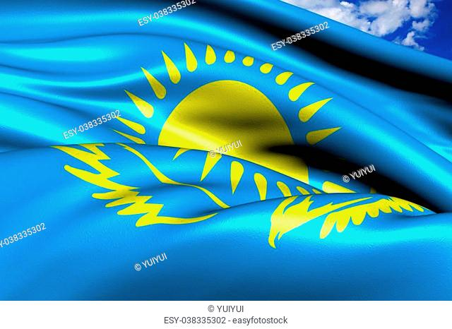 Flag of Kazakhstan against cloudy sky. Close up
