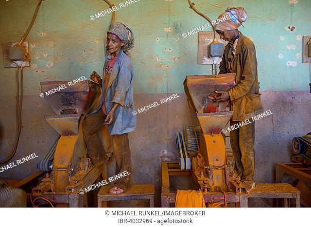 Women working in a Berbere red pepper spice factory at the Medebar market, Asmara, Eritrea