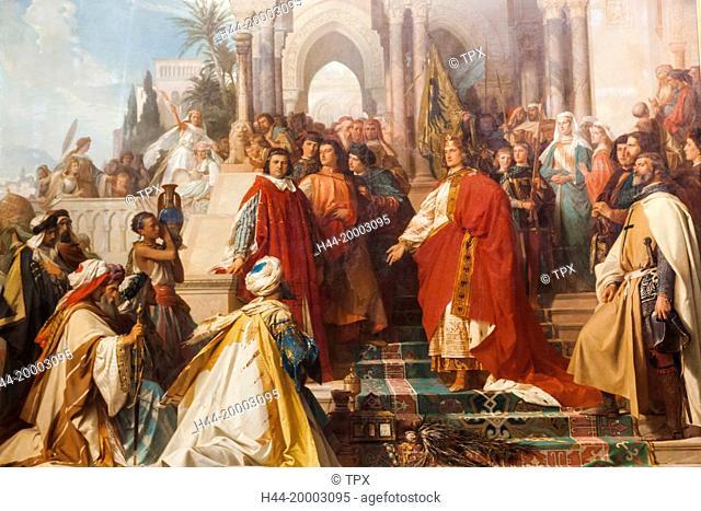 Germany, Bavaria, Munich, The New Pinakothek Museum (Neue Pinakothek), Painting titled The Court of Emperor Frederick II in Palermo (Die Hof kaiser Friedrichs...