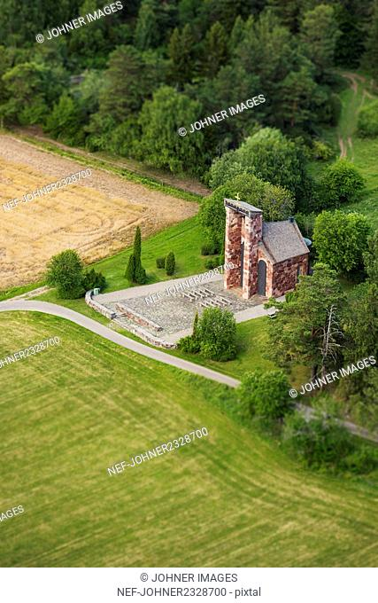 Aerial view of rural chapel