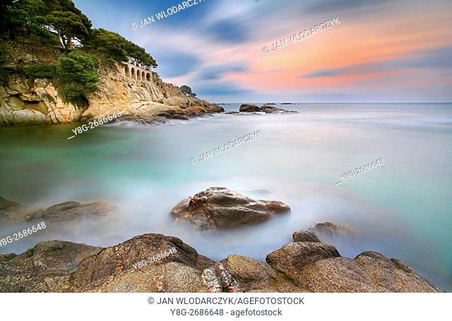 Costa bava coastline before sunrase, Spain