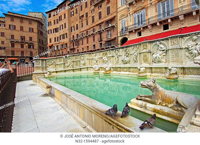 Fonte Gaia, Piazza del Campo, Siena, UNESCO World Heritage Site, Tuscany, Italy, Europe