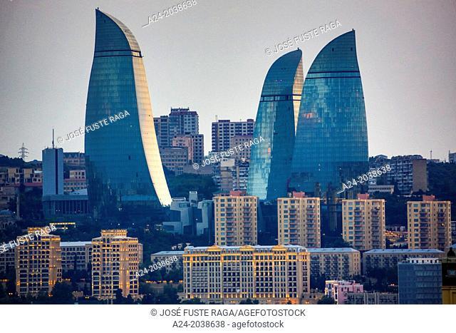Azerbaijan , Baku City, Sunset, Flame Towers