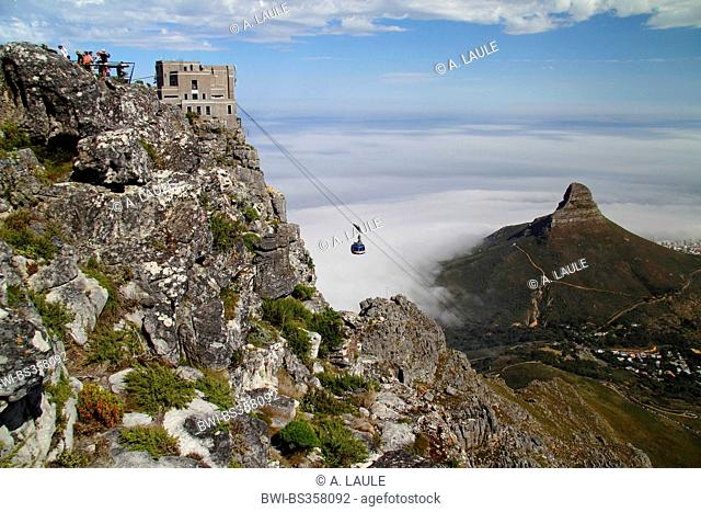the table mountain cableway with Lion's Head, South Africa, Table Mountain National Park, Capetown