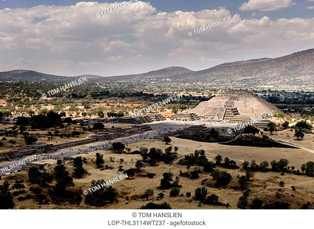 Mexico, Federal District, Mexico City. View from the Pyramid of the Sun at Teotihuacan in Mexico City