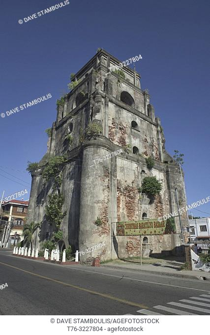 The sinking bell tower in Laoag, Ilocos Norte, Philippines