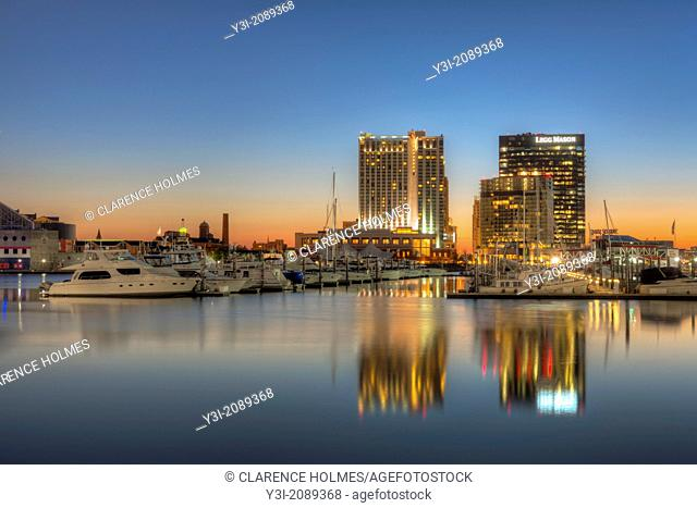 A new day begins in Baltimore with part of the skyline of the Harbor East development, including the Baltimore Marriott Waterfront Hotel and the Legg Mason...
