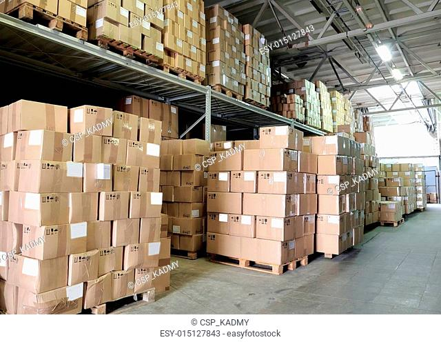 warehouse with cardboxes