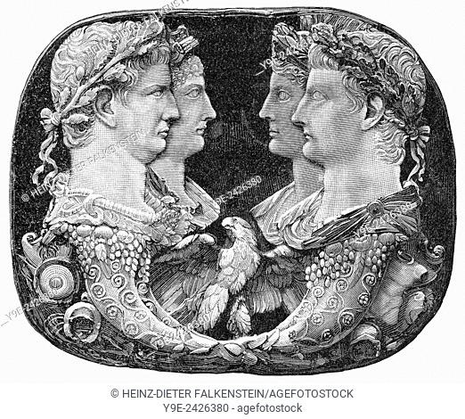 on the left the Roman emperor Claudius and his wife Agrippina, on the right the Roman Emperor Tiberius with his wife Livia,