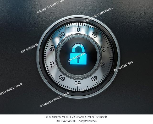 Safe lock with padlock sign. Security concept background. 3d illustration