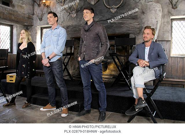 Evanna Lynch, James Phelps, Oliver Phelps, Tom Felton 04/06/2016 The Wizarding World of Harry Potter Media Preview Day held at the Universal Studios Hollywood...