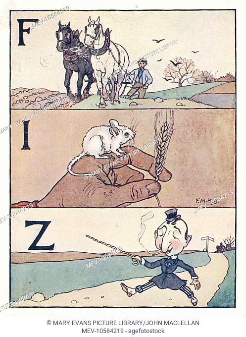 Nursery Rhymes -- three illustrations for three letters of the alphabet. Showing a man ploughing a field, a white mouse sitting on someone's hand with a head of...